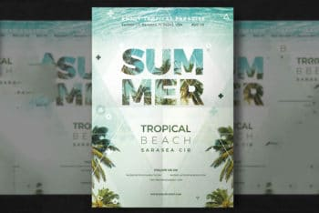 Free Summer Party Flyer Mockup