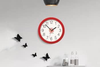 Free Wall Clock Logo Mockup