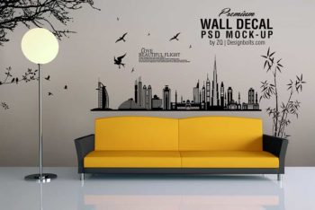 Free Wall Decal Mockup in PSD