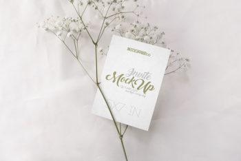 Set of Beautiful Wedding Invitation PSD Mockups