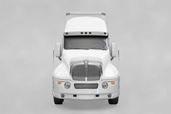 Free Frontview Truck Mockup in PSD