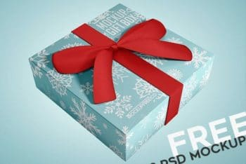 Beautiful Gift Box PSD Mockup with Ribbon Design
