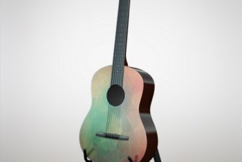Acoustic Guitar Mockup Freebie in PSD