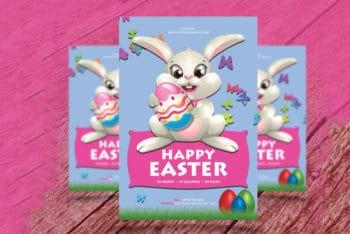 Happy Easter Flyer Mockup in PSD
