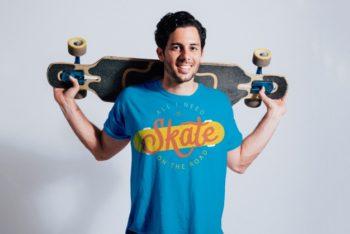 Free Happy Skater Plus Skateboard Mockup