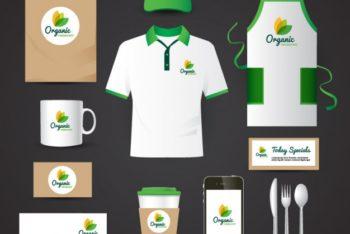 Organic Food Restaurant Identity Mockup in PSD