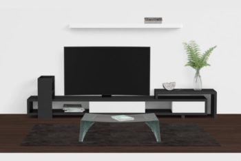 Free Living Room Design Mockup in PSD