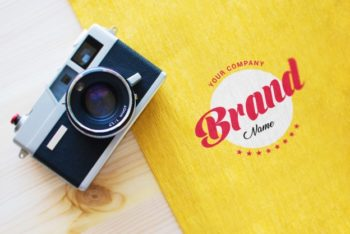Free Logo Plus Camera Mockup in PSD
