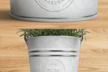 Free Plant Bucket Logo Mockup in PSD