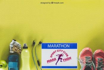 Free Inspiring Marathon Mockup in PSD