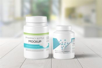Free Medicine Bottle Mockup in PSD
