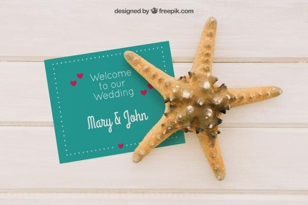 Free Wedding Invitation Plus Starfish Mockup