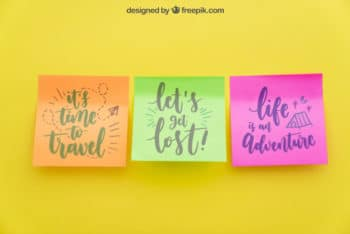 Colorful Sticky Notes Mockup Freebie