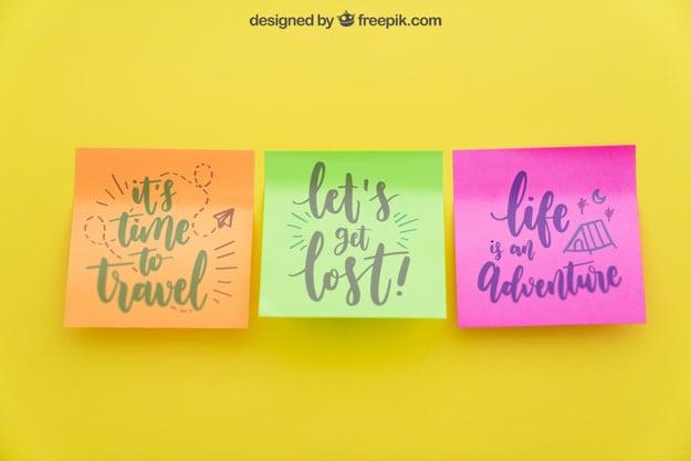 Colorful Sticky Notes Mockup