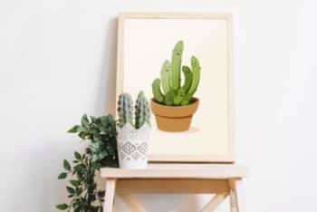 Free Simple Frame Plus Cactus Mockup