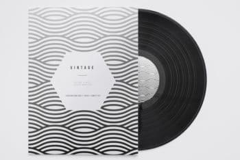 Free Modern Vinyl Record Mockup in PSD