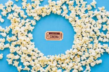 Popcorn Around Movie Ticket Mockup Freebie