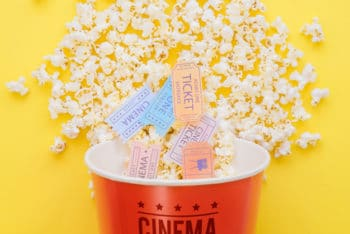 Movie Tickets Plus Popcorn Mockup Freebie