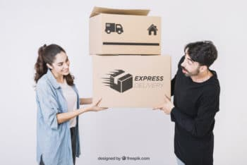 Moving Box Plus Young Couple Mockup in PSD
