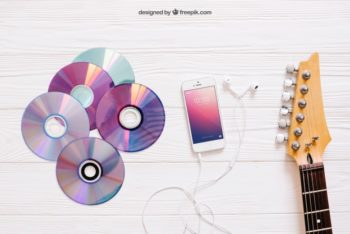 Free Music Concept Plus CDs Mockup