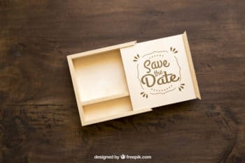 Cute Small Wooden Box Mockup Freebie