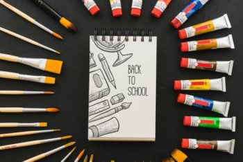 Awsome Painting Materials Plus Notebook Mockup