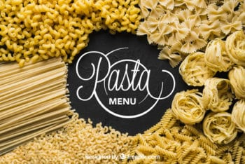 Free Assorted Uncooked Pasta Mockup in PSD