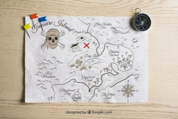 Awesome Pirate Treasure Map Mockup Freebie
