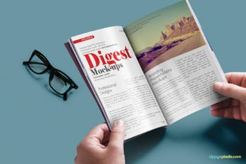 Free Digest Magazine Mockup in PSD