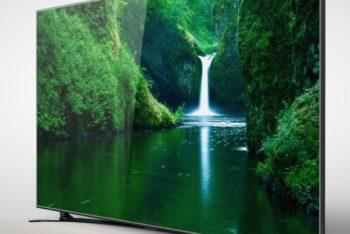 Beautiful Curved Television Mockup Freebie
