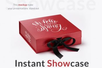 Free Customizable Red Gift Box Mockup in PSD
