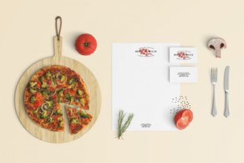 Free Restaurant Stationery Design Mockup