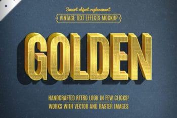 Free Retro Golden Lettering Mockup