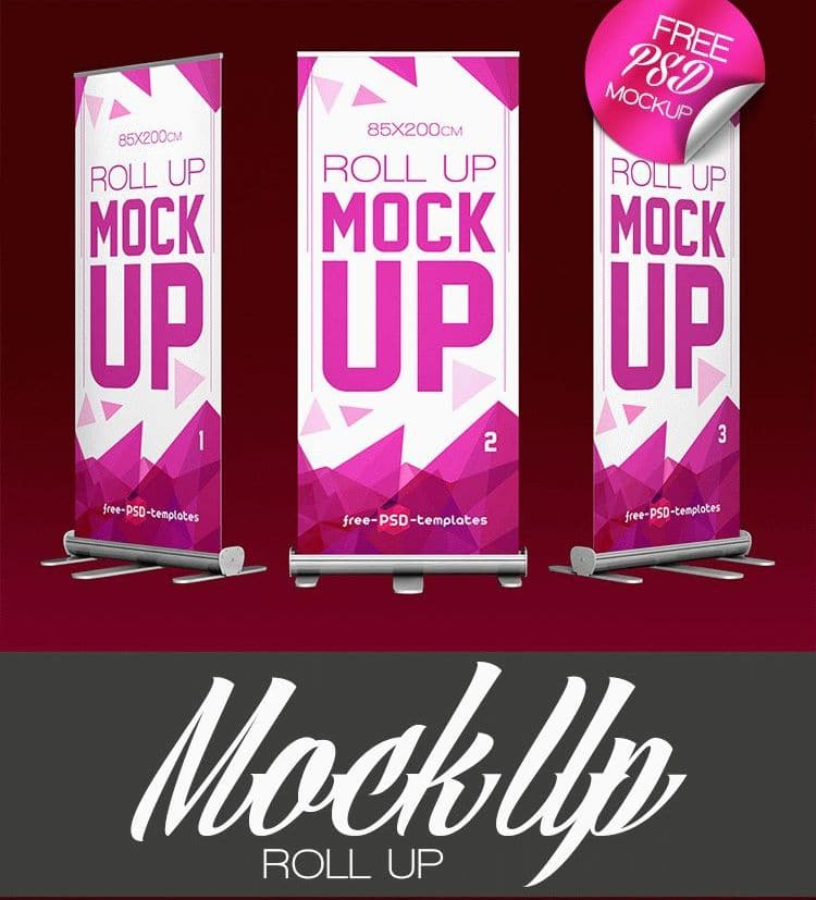Free Roll-up Banner PSD Mockup