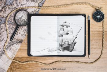Sailing Boat Sketch Mockup Freebie
