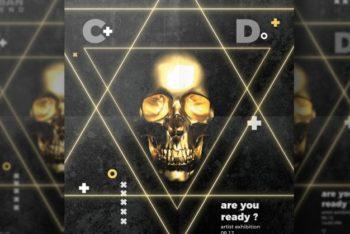 Free Cool Skull Flyer Mockup in PSD