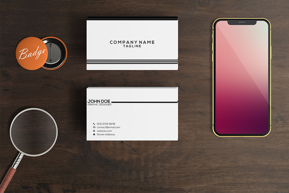 Free Smartphone and Business Card Mockup in PSD - Designhooks