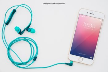 Free Smartphone Plus Earphone Mockup in PSD