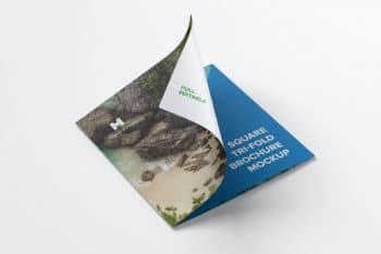 Trifold Square Brochure Mockup in PSD