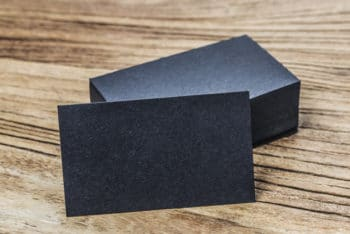Free Black Business Card Stacks Mockup