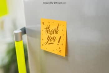 Sticky Note Plus Refrigerator Mockup Freebie