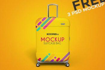 Colorful & Stylish Trolley Bag PSD Mockup