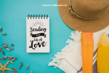 Summer Decoration Plus Notepad Mockup Freebie