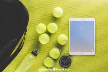 Tennis Balls Plus Tablet Mockup Freebie
