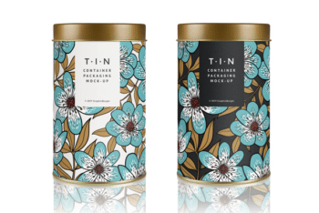 Beautifully Crafted Tin Container PSD Mockup
