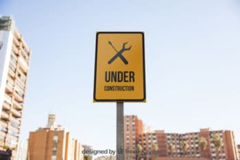 Free Under Construction Sign Mockup in PSD