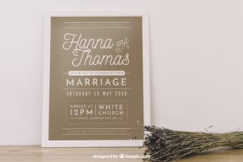 Free Wedding Frame Mockup in PSD