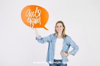 Free Woman Holding Speech Bubble Mockup