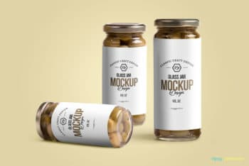 Free Olives Glass Jar Mockup in PSD