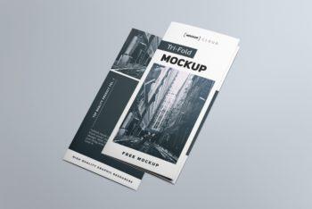 Free Tri-fold Brochure PSD Mockup for Photorealistic Presentation